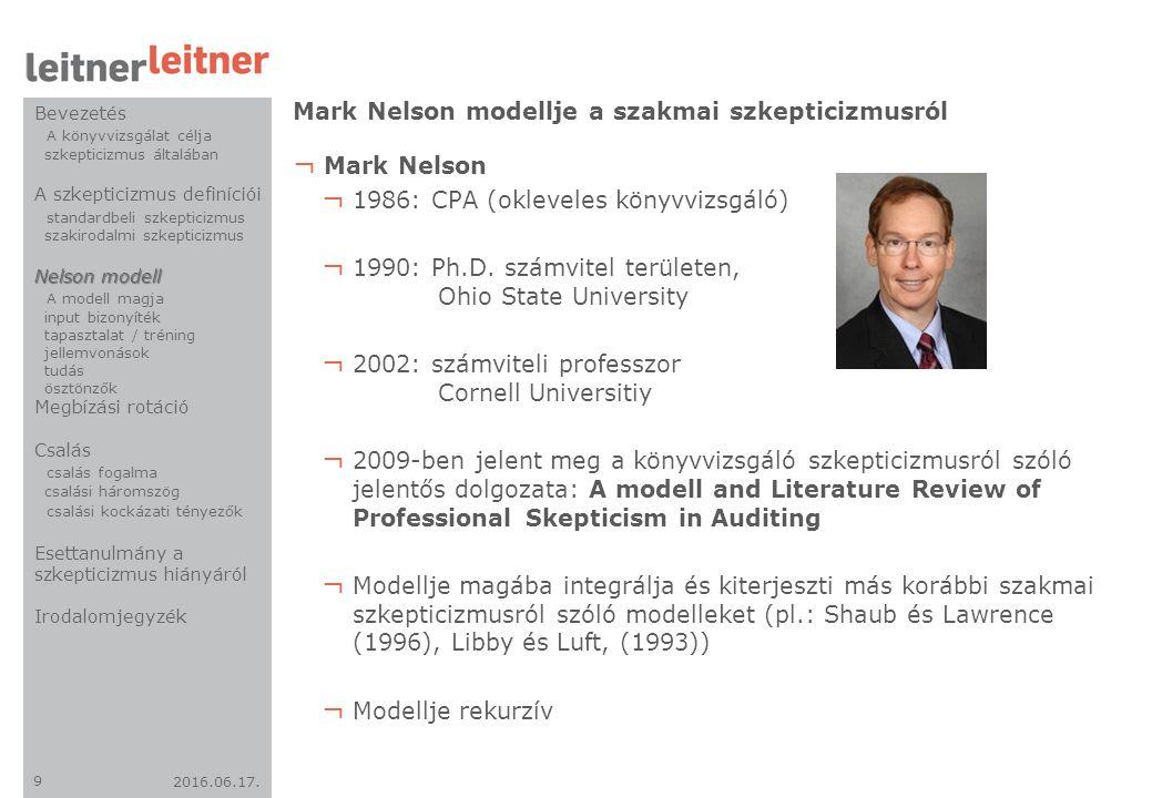 2016.06.17. 9 ¬ Mark Nelson ¬ 1986: CPA (okleveles könyvvizsgáló) ¬ 1990: Ph.D. számvitel területen, Ohio State University ¬ 2002: számviteli professz