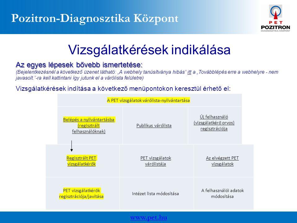 """Pozitron-Diagnosztika Központ www.pet.hu Vizsgálatkérések indikálása Az egyes lépesek bővebb ismertetése: (Bejelentkezésnél a következő üzenet látható: """"A webhely tanúsítványa hibás itt a """"Továbblépés erre a webhelyre - nem javasolt. -ra kell kattintani így jutunk el a várólista felületre) A PET vizsgálatok várólista-nyilvántartása Belépés a nyilvántartásba (regisztrált felhasználóknak) Publikus várólista Új felhasználó (vizsgálatkérő orvos) regisztrációja Regisztrált PET vizsgálatkérők PET vizsgálatok várólistája Az elvégzett PET vizsgálatok PET vizsgálatkérők regisztrációja/javítása Intézet lista módosítása A felhasználói adatok módosítása Vizsgálatkérések indítása a következő menüpontokon keresztül érhető el:"""