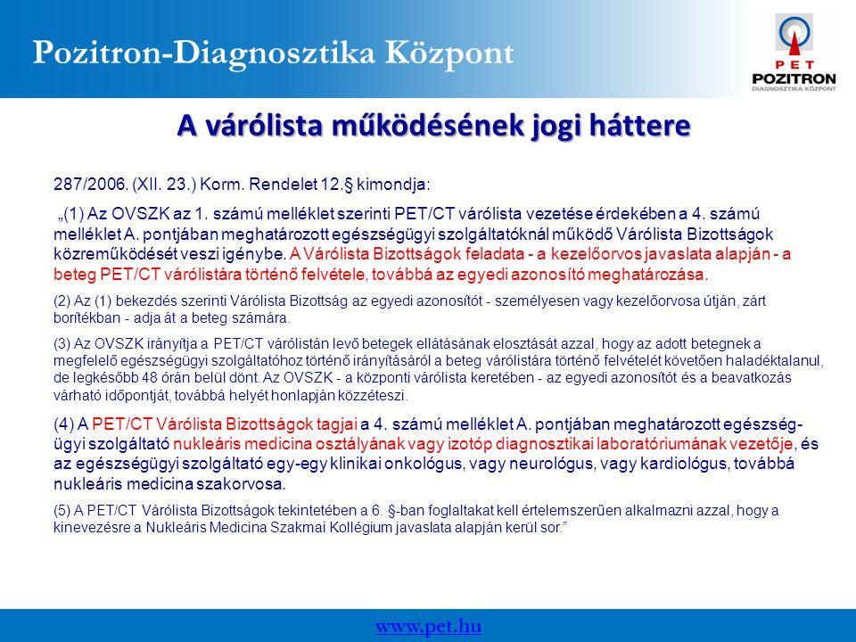 Pozitron-Diagnosztika Központ www.pet.hu A várólista működésének jogi háttere 287/2006.