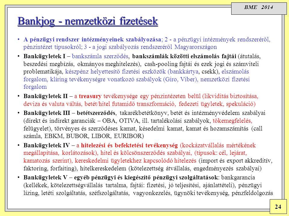 BME 2014 24 A pénzügyi rendszer intézményeinek szabályozása; 2 - a pénzügyi intézmények rendszeréről, pénzintézet típusokról; 3 - a jogi szabályozás rendszeréről Magyarországon Bankügyletek I – bankszámla szerződés, bankszámlák közötti elszámolás fajtái (átutalás, beszedési megbízás, okmányos meghitelezés), cash-pooling fajtái és ezek jogi és számviteli problematikája, készpénz helyettesítő fizetési eszközök (bankkártya, csekk), elszámolás forgalom, klíring tevékenységre vonatkozó szabályok (Giro, Viber), nemzetközi fizetési forgalom Bankügyletek II – a treasury tevékenysége egy pénzintézeten belül (likviditás biztosítása, deviza és valuta váltás, betét/hitel futamidő transzformáció, fedezeti ügyletek, spekuláció) Bankügyletek III – betétszerződés, takarékbetétkönyv, betét és intézményvédelem szabályai (direkt és indirekt garanciák – OBA, OTIVA, ill.