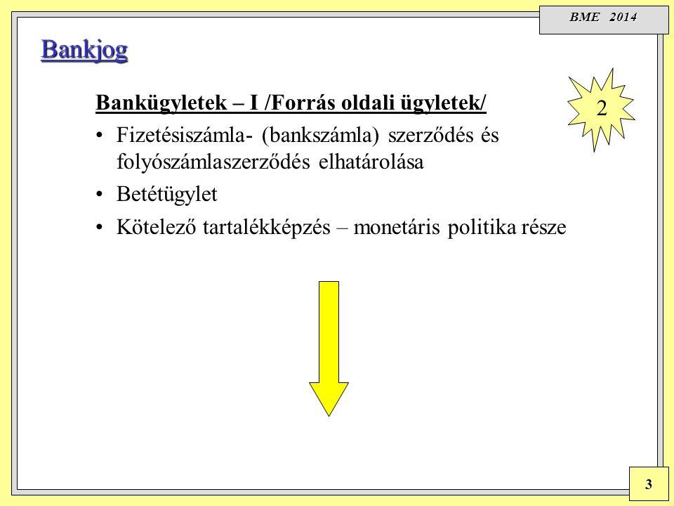 BME 2014 3 Bankjog Bankügyletek – I /Forrás oldali ügyletek/ Fizetésiszámla- (bankszámla) szerződés és folyószámlaszerződés elhatárolása Betétügylet Kötelező tartalékképzés – monetáris politika része 2
