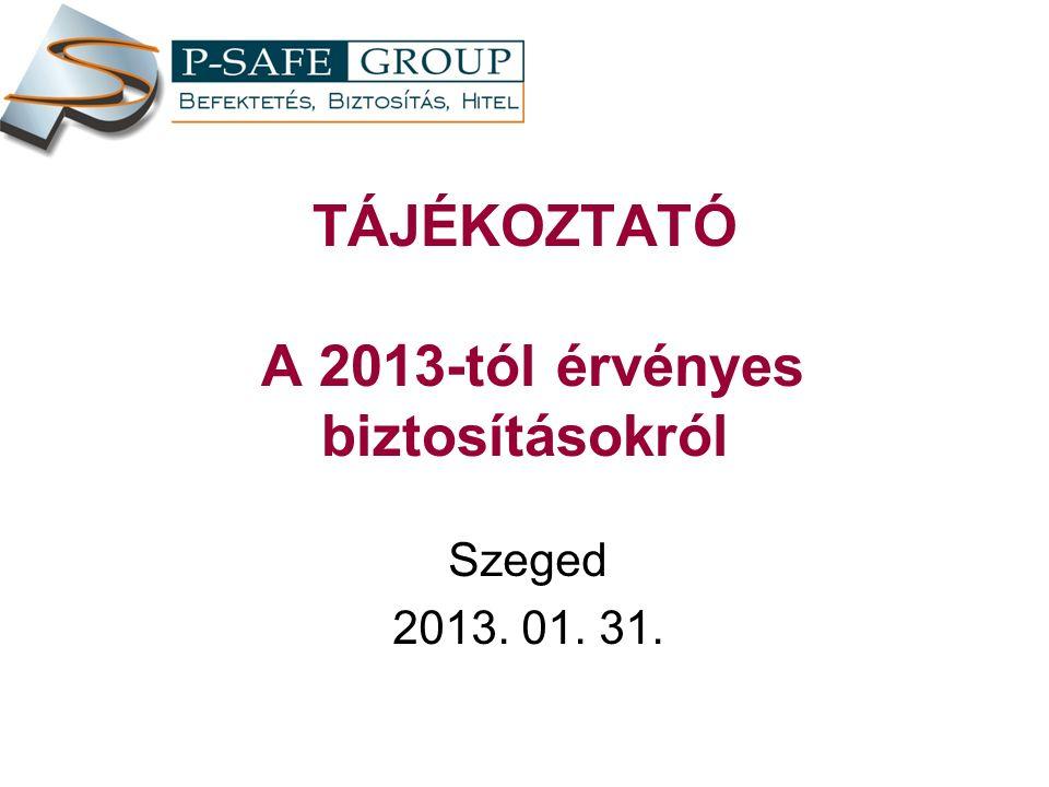 TÁJÉKOZTATÓ A 2013-tól érvényes biztosításokról Szeged 2013. 01. 31.
