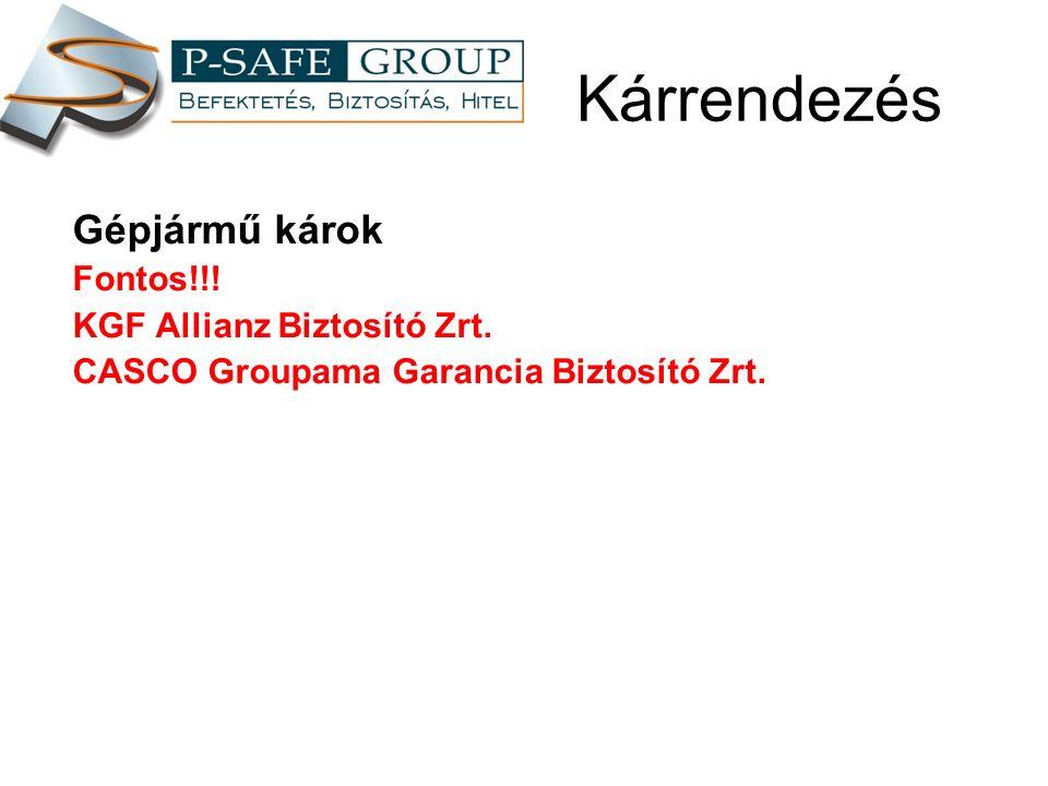Kárrendezés Gépjármű károk Fontos!!. KGF Allianz Biztosító Zrt.