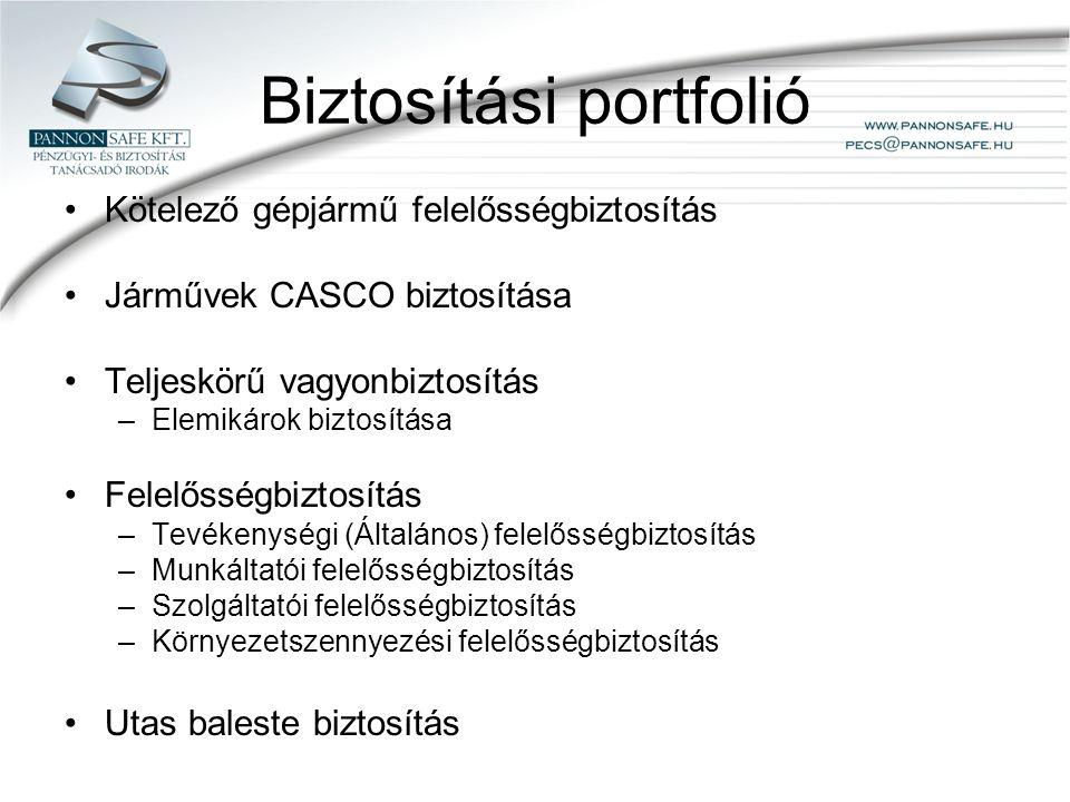 Biztosítási portfolió Kötelező gépjármű felelősségbiztosítás Járművek CASCO biztosítása Teljeskörű vagyonbiztosítás –Elemikárok biztosítása Felelősségbiztosítás –Tevékenységi (Általános) felelősségbiztosítás –Munkáltatói felelősségbiztosítás –Szolgáltatói felelősségbiztosítás –Környezetszennyezési felelősségbiztosítás Utas baleste biztosítás