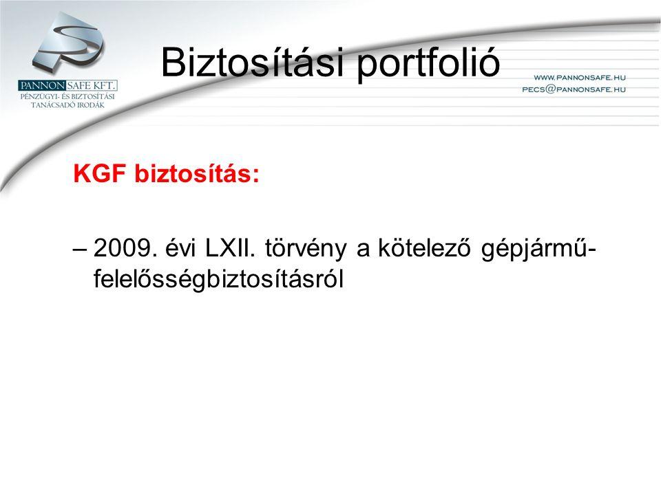 Biztosítási portfolió KGF biztosítás: –2009. évi LXII.