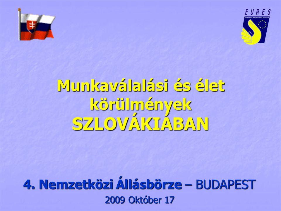 Alap információk Oficiális megnevezés - Szlovák köztársaság Alapítási dátum - 1.1.1993 Államigazgatási forma - köztársaság Főváros – Bratislava / Pozsony Területi felosztás – 3 régió, 8 kerület,79 járás Terület – 49 035 km 2 A lakosság száma – 5.395.000 Az ekonómiailag aktív lakosság száma – 2.600.592