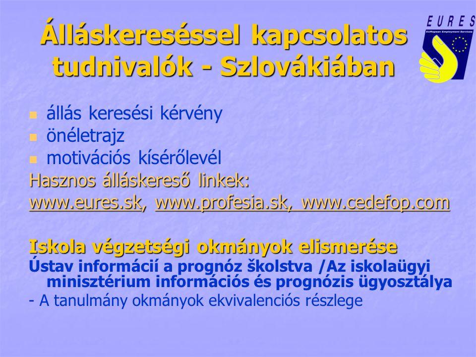 Álláskereséssel kapcsolatos tudnivalók - Szlovákiában állás keresési kérvény önéletrajz motivációs kísérőlevél Hasznos álláskereső linkek: www.eures.skwww.eures.sk, www.profesia.sk, www.cedefop.com www.profesia.sk, www.cedefop.com www.eures.skwww.profesia.sk, www.cedefop.com Iskola végzetségi okmányok elismerése Ústav informácií a prognóz školstva /Az iskolaügyi minisztérium információs és prognózis ügyosztálya - A tanulmány okmányok ekvivalenciós részlege