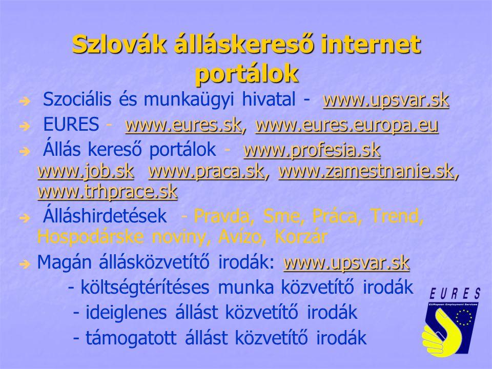 Szlovák álláskereső internet portálok  www.upsvar.sk  Szociális és munkaügyi hivatal - www.upsvar.sk www.upsvar.sk  www.eures.sk, www.eures.europa.