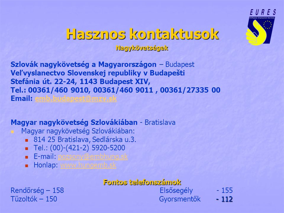 Hasznos kontaktusok Nagykövetségek Szlovák nagykövetség a Magyarországon – Budapest Veľvyslanectvo Slovenskej republiky v Budapešti Stefánia út. 22-24