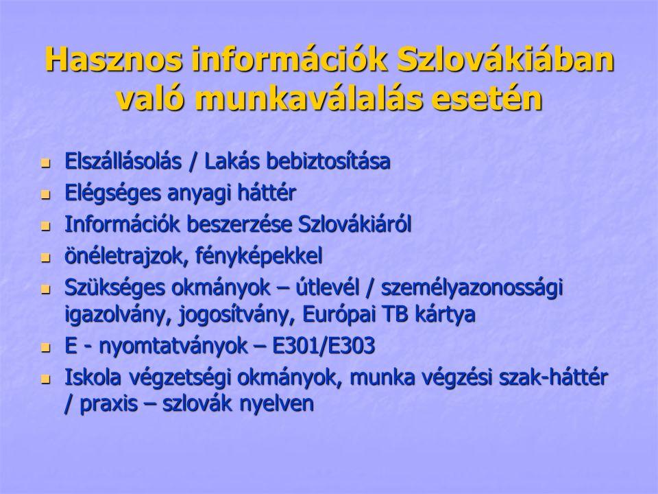 Hasznos információk Szlovákiában való munkaválalás esetén Elszállásolás / Lakás bebiztosítása Elszállásolás / Lakás bebiztosítása Elégséges anyagi háttér Elégséges anyagi háttér Információk beszerzése Szlovákiáról Információk beszerzése Szlovákiáról önéletrajzok, fényképekkel önéletrajzok, fényképekkel Szükséges okmányok – útlevél / személyazonossági igazolvány, jogosítvány, Európai TB kártya Szükséges okmányok – útlevél / személyazonossági igazolvány, jogosítvány, Európai TB kártya E - nyomtatványok – E301/E303 E - nyomtatványok – E301/E303 Iskola végzetségi okmányok, munka végzési szak-háttér / praxis – szlovák nyelven Iskola végzetségi okmányok, munka végzési szak-háttér / praxis – szlovák nyelven