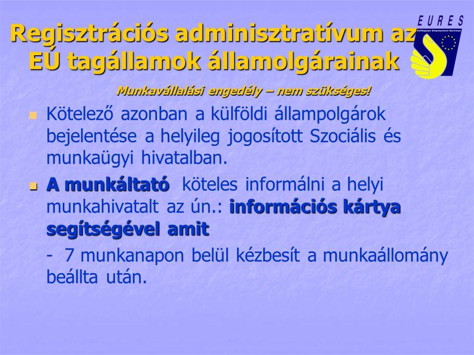 Regisztrációs adminisztratívum az EÚ tagállamok államolgárainak Munkavállalási engedély – nem szükséges! Kötelező azonban a külföldi állampolgárok bej