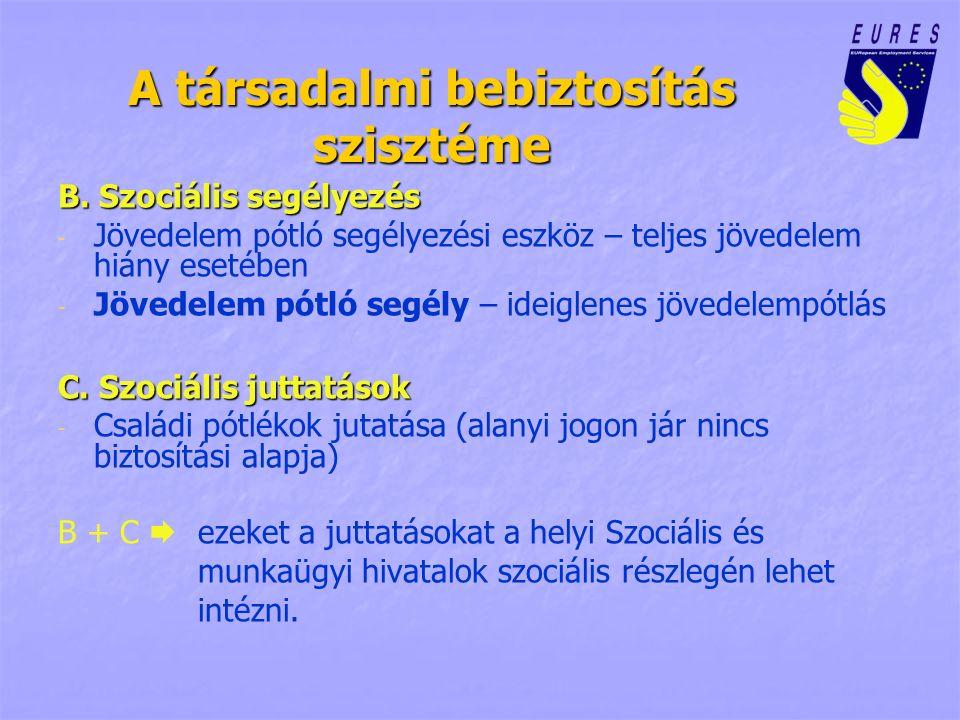 A társadalmi bebiztosítás szisztéme B. Szociális segélyezés - - Jövedelem pótló segélyezési eszköz – teljes jövedelem hiány esetében - - Jövedelem pót