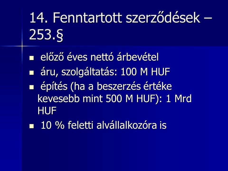 14. Fenntartott szerződések – 253.§ előző éves nettó árbevétel előző éves nettó árbevétel áru, szolgáltatás: 100 M HUF áru, szolgáltatás: 100 M HUF ép