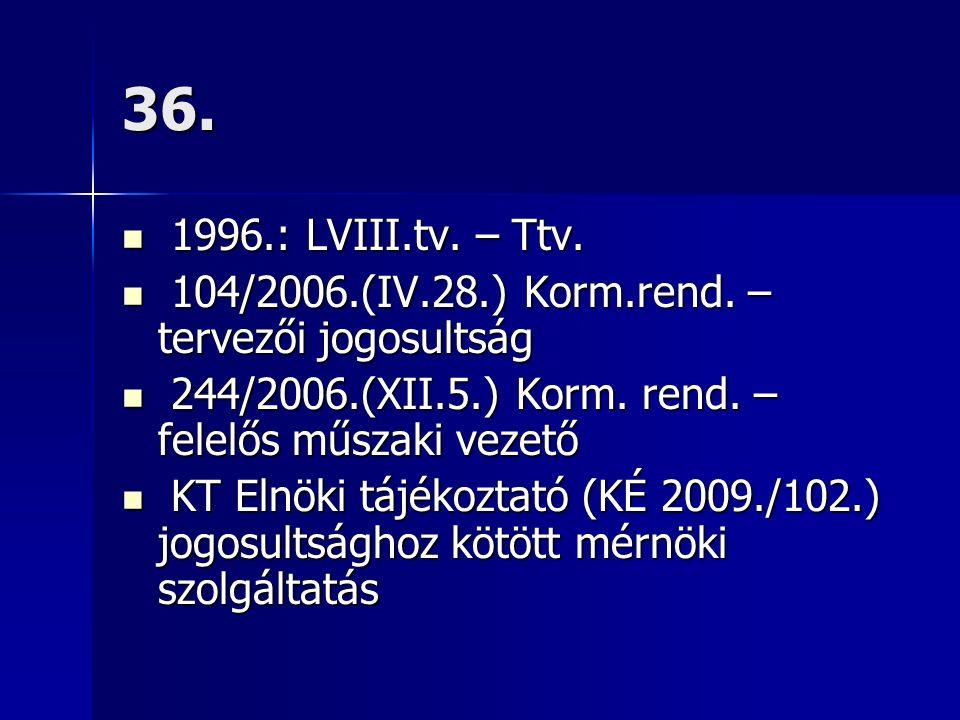36. 1996.: LVIII.tv. – Ttv. 1996.: LVIII.tv. – Ttv. 104/2006.(IV.28.) Korm.rend. – tervezői jogosultság 104/2006.(IV.28.) Korm.rend. – tervezői jogosu