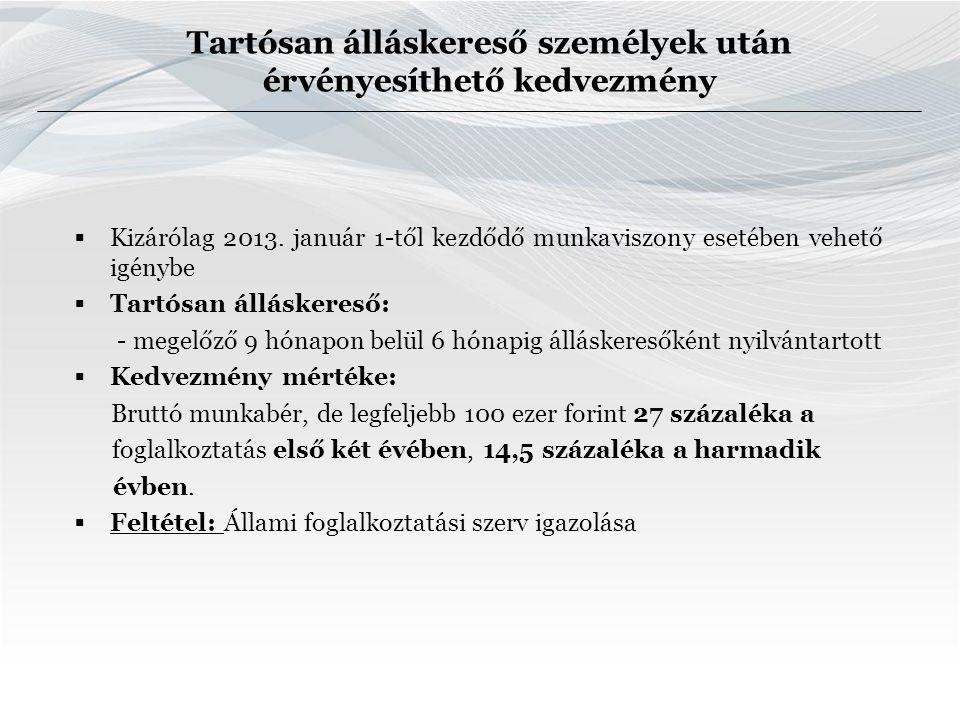 Tartósan álláskereső személyek után érvényesíthető kedvezmény  Kizárólag 2013.
