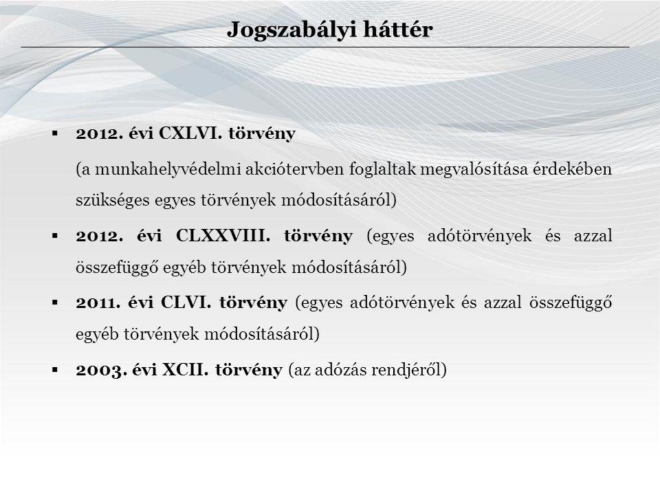 Jogszabályi háttér  2012. évi CXLVI.