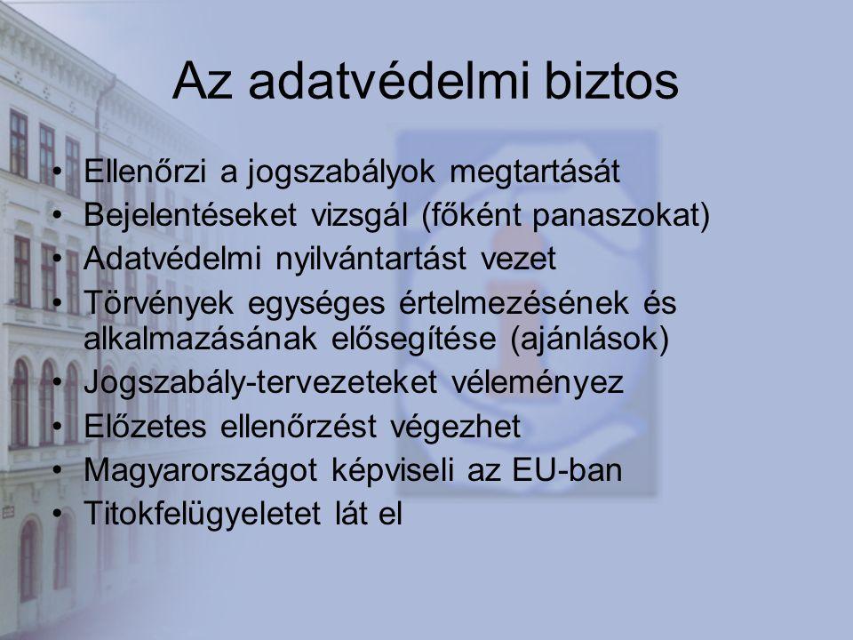 Az adatvédelmi biztos Ellenőrzi a jogszabályok megtartását Bejelentéseket vizsgál (főként panaszokat) Adatvédelmi nyilvántartást vezet Törvények egységes értelmezésének és alkalmazásának elősegítése (ajánlások) Jogszabály-tervezeteket véleményez Előzetes ellenőrzést végezhet Magyarországot képviseli az EU-ban Titokfelügyeletet lát el