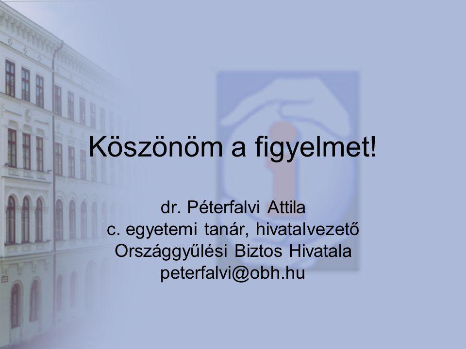 Köszönöm a figyelmet. dr. Péterfalvi Attila c.