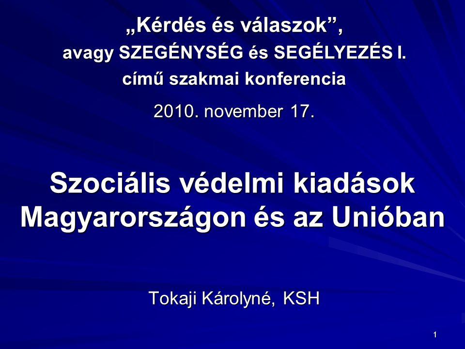 """1 Szociális védelmi kiadások Magyarországon és az Unióban Tokaji Károlyné, KSH """"Kérdés és válaszok , avagy SZEGÉNYSÉG és SEGÉLYEZÉS I."""