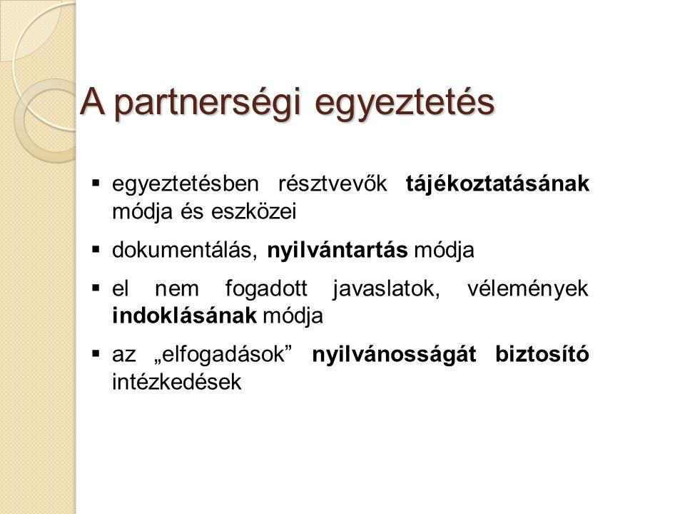 """A partnerségi egyeztetés  egyeztetésben résztvevők tájékoztatásának módja és eszközei  dokumentálás, nyilvántartás módja  el nem fogadott javaslatok, vélemények indoklásának módja  az """"elfogadások nyilvánosságát biztosító intézkedések"""