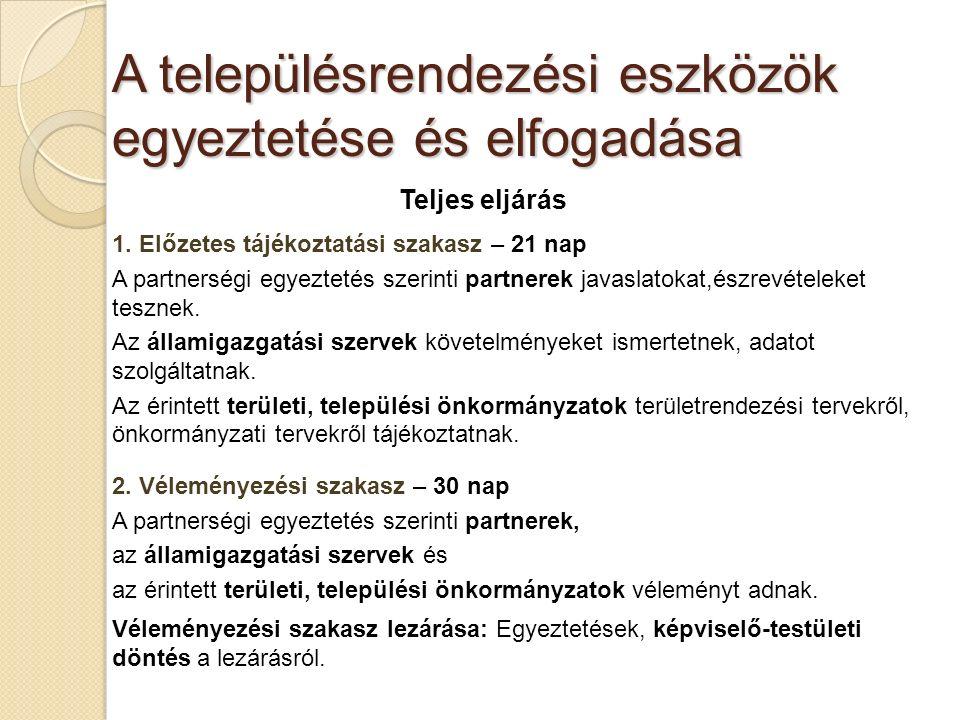 A településrendezési eszközök egyeztetése és elfogadása Teljes eljárás 1.