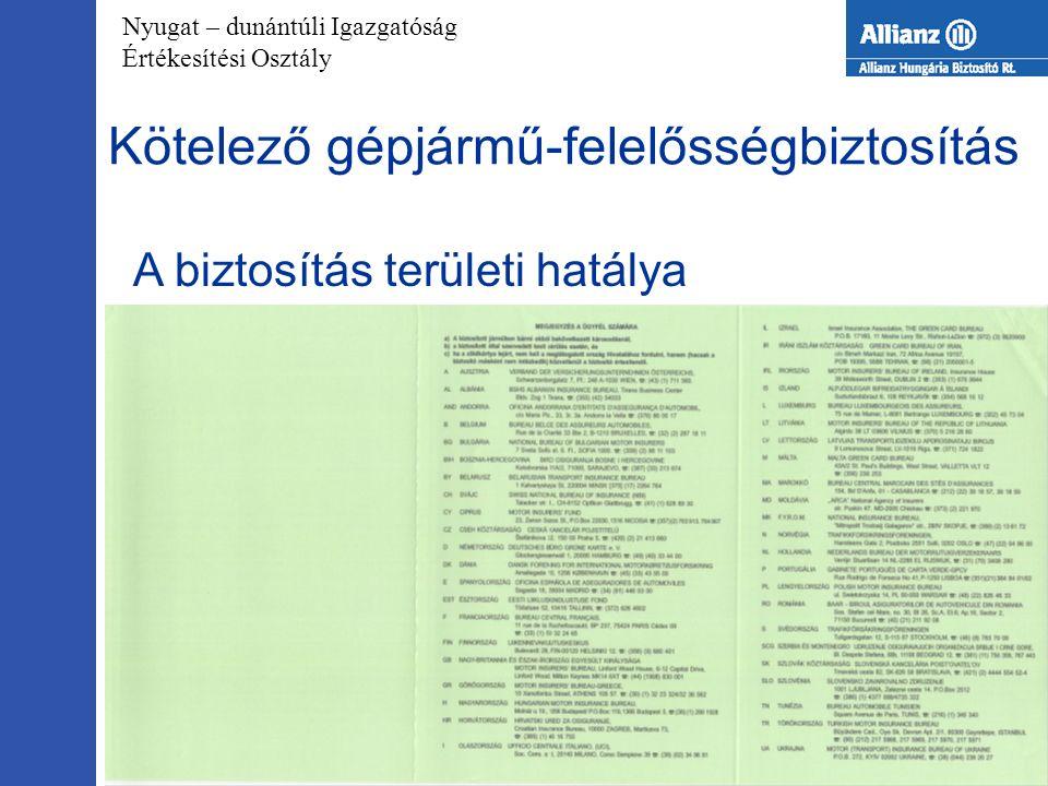 Nyugat – dunántúli Igazgatóság Értékesítési Osztály 2005.09.28.