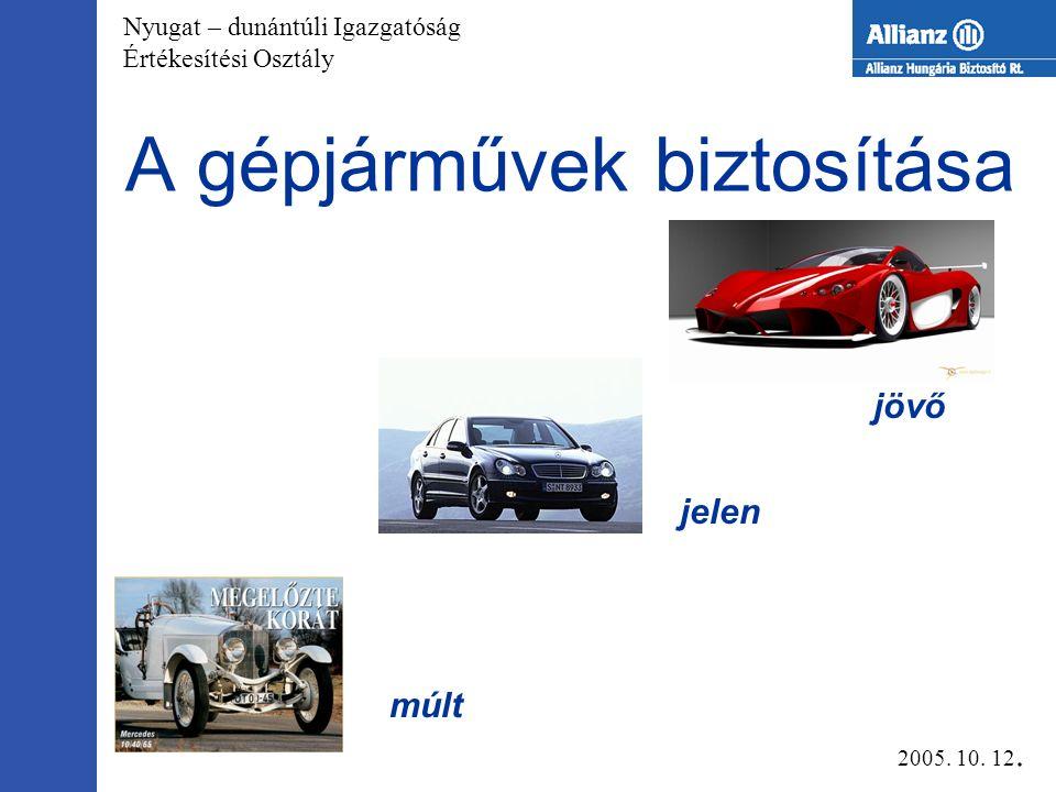 Nyugat – dunántúli Igazgatóság Értékesítési Osztály A gépjárművek biztosítása múlt jelen jövő 2005.