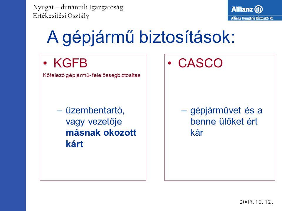 Nyugat – dunántúli Igazgatóság Értékesítési Osztály A gépjármű biztosítások: KGFB Kötelező gépjármű- felelősségbiztosítás –üzembentartó, vagy vezetője másnak okozott kárt CASCO –gépjárművet és a benne ülőket ért kár 2005.