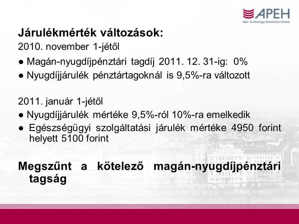 Járulékmérték változások: 2010. november 1-jétől ● Magán-nyugdíjpénztári tagdíj 2011. 12. 31-ig: 0% ● Nyugdíjjárulék pénztártagoknál is 9,5%-ra változ