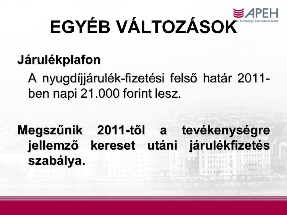 EGYÉB VÁLTOZÁSOK Járulékplafon A nyugdíjjárulék-fizetési felső határ 2011- ben napi 21.000 forint lesz. A nyugdíjjárulék-fizetési felső határ 2011- be