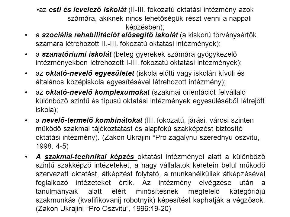 az esti és levelező iskolát (II-III.