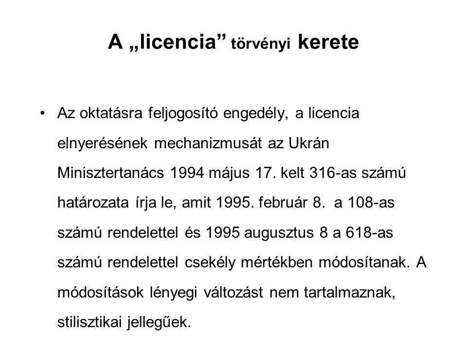 """A """"licencia törvényi kerete Az oktatásra feljogosító engedély, a licencia elnyerésének mechanizmusát az Ukrán Minisztertanács 1994 május 17."""