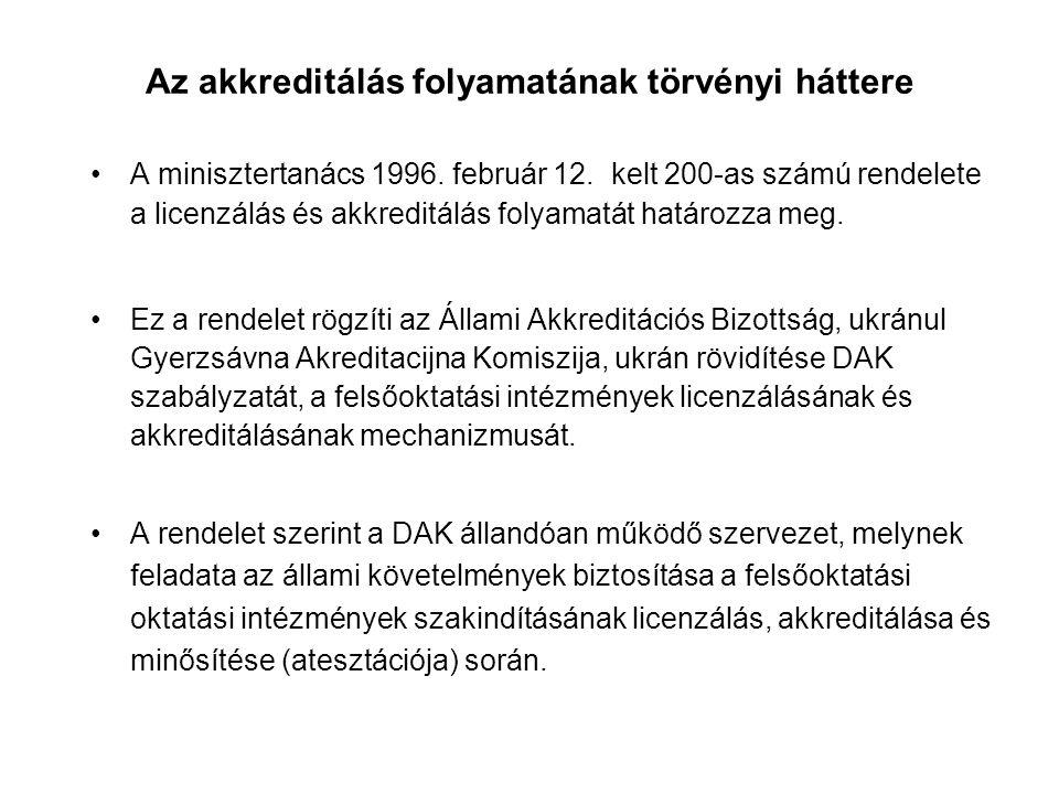 Az akkreditálás folyamatának törvényi háttere A minisztertanács 1996.