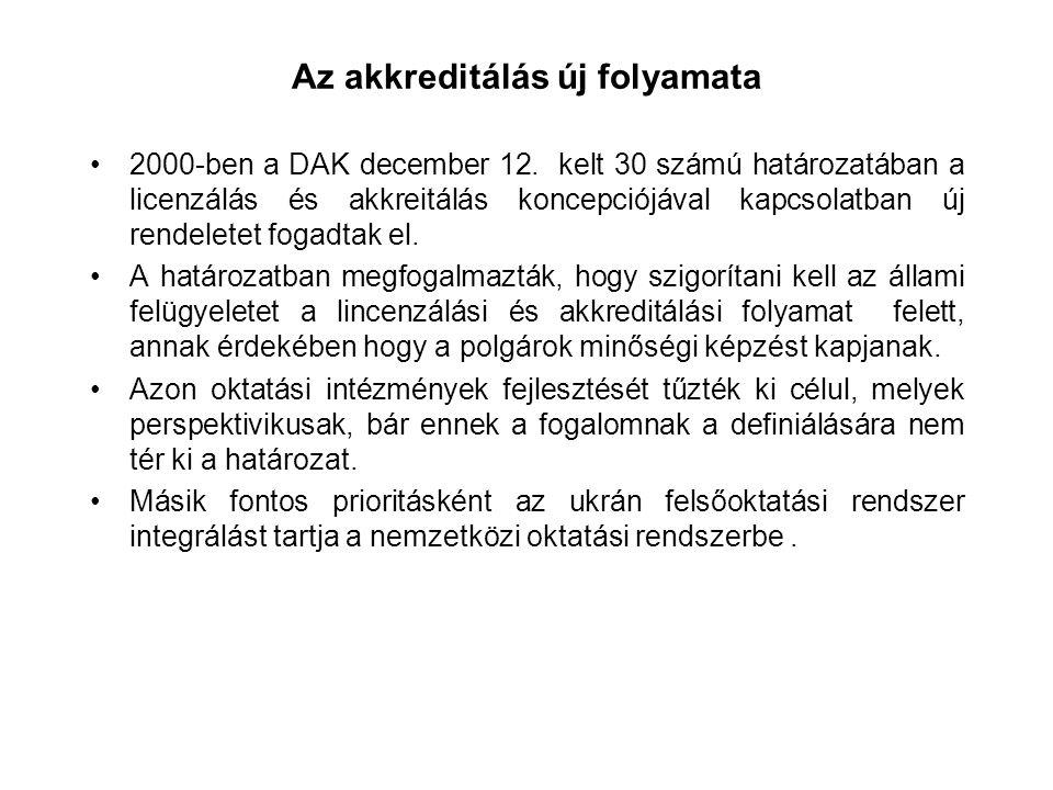 Az akkreditálás új folyamata 2000-ben a DAK december 12.