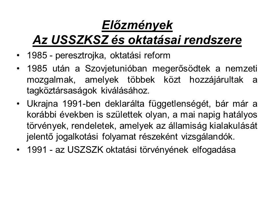 Előzmények Az USSZKSZ és oktatásai rendszere 1985 - peresztrojka, oktatási reform 1985 után a Szovjetunióban megerősödtek a nemzeti mozgalmak, amelyek többek közt hozzájárultak a tagköztársaságok kiválásához.