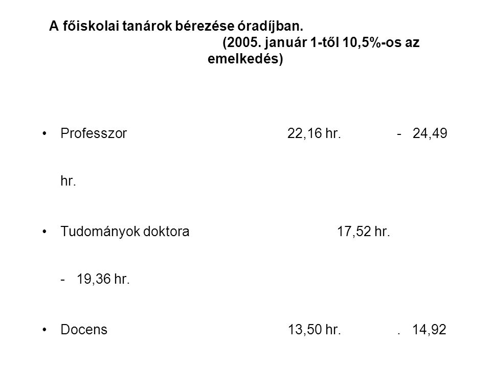 A főiskolai tanárok bérezése óradíjban. (2005.