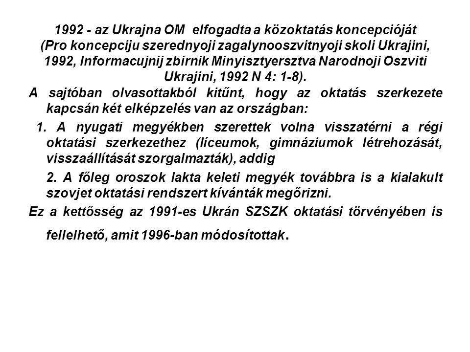 1992 - az Ukrajna OM elfogadta a közoktatás koncepcióját (Pro koncepciju szerednyoji zagalynooszvitnyoji skoli Ukrajini, 1992, Informacujnij zbirnik Minyisztyersztva Narodnoji Oszviti Ukrajini, 1992 N 4: 1-8).