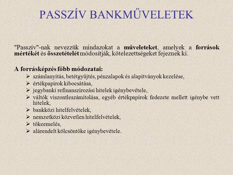 Bankműveletek Passzív bankműveletek – forrásgyűjtés (kamatkiadás) Aktív bankműveletek – kihelyezések (kamatbevétel) Semleges bankműveletek – banki/ban