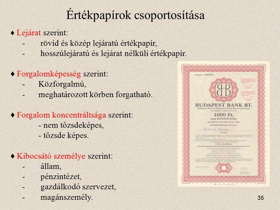 Értékpapírok csoportosítása Csoportosítás szempontjai: ♦ Alapjogviszony szerint: - hitelviszonyt tartalmaz (csekk, váltó, kötvény); - vagyoni részesedést, tagsági jogot tartalmaz (részvény, vagyonjegy); - áruhoz kapcsolódó jog (közraktárjegy, hajóraklevél).