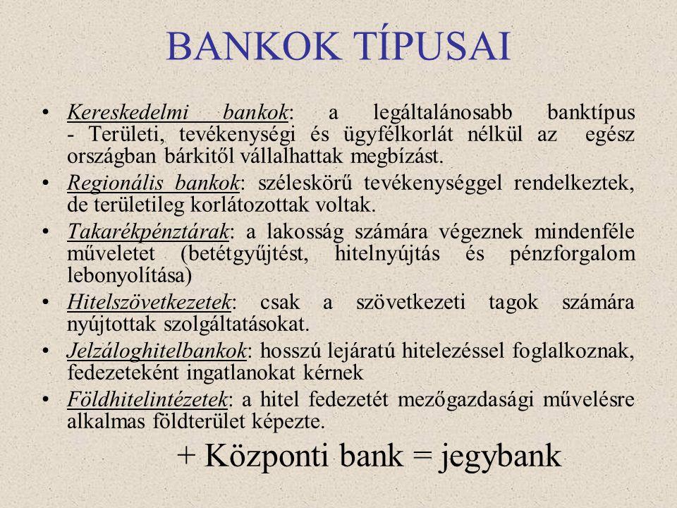 BANKRENDSZEREK Specializált vagy kettéosztott bankrendszer: - bankok egyik csoportja csak lakossági ügyletekkel, rövid távú finanszírozással foglalkoz