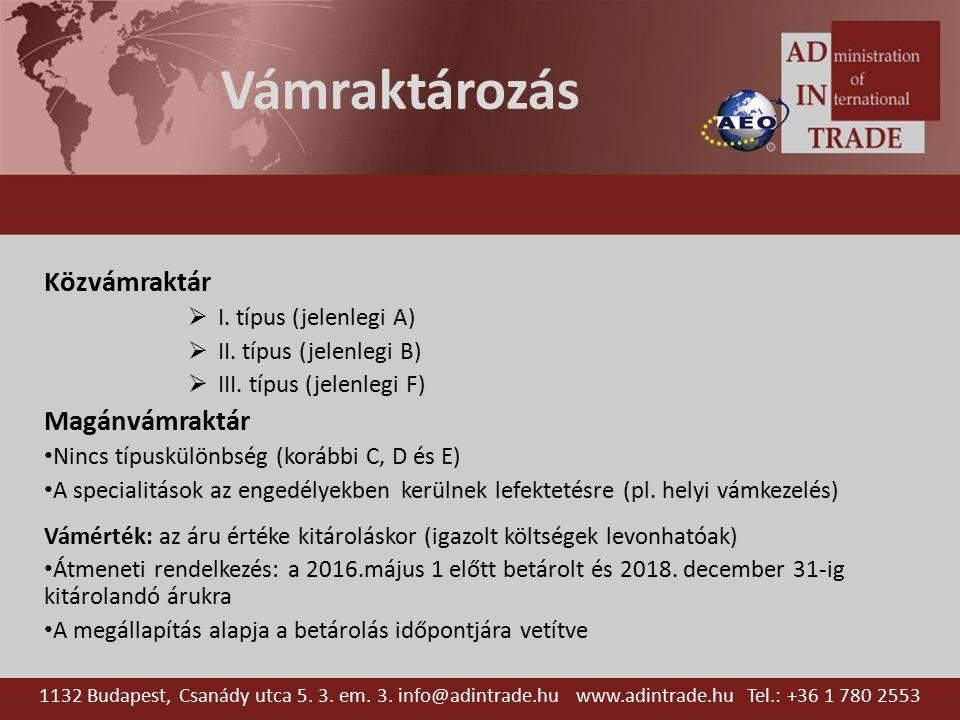 Vámraktározás Közvámraktár  I. típus (jelenlegi A)  II.