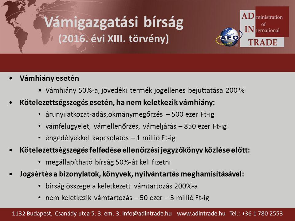 Vámigazgatási bírság (2016. évi XIII.