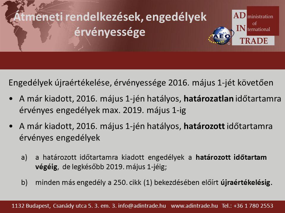 Átmeneti rendelkezések, engedélyek érvényessége Engedélyek újraértékelése, érvényessége 2016. május 1-jét követően A már kiadott, 2016. május 1-jén ha