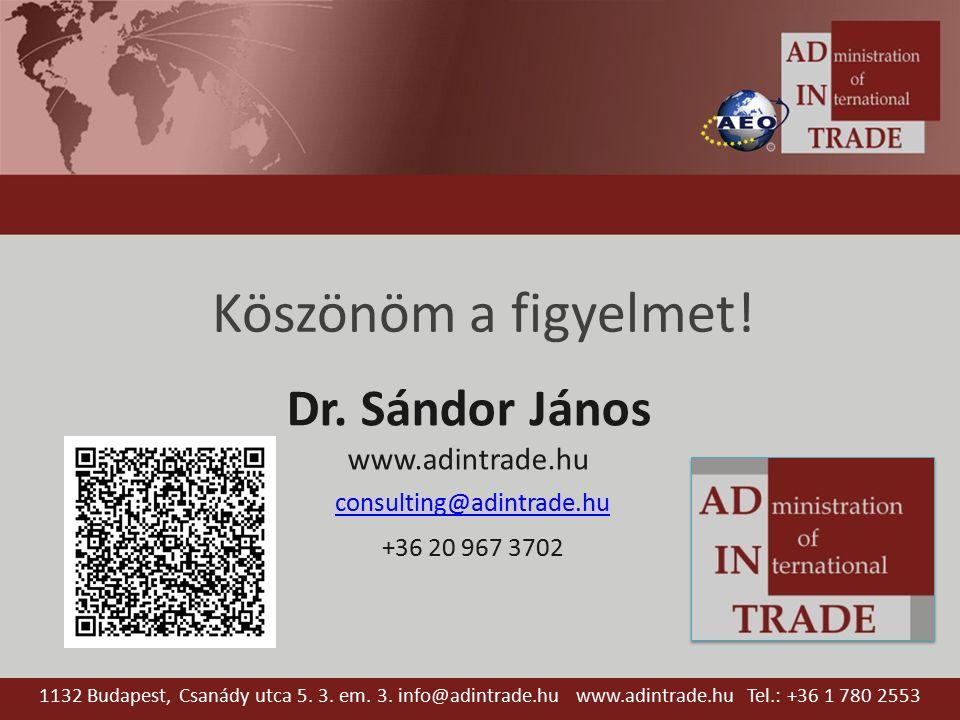 Köszönöm a figyelmet! Dr. Sándor János www.adintrade.hu consulting@adintrade.hu +36 20 967 3702