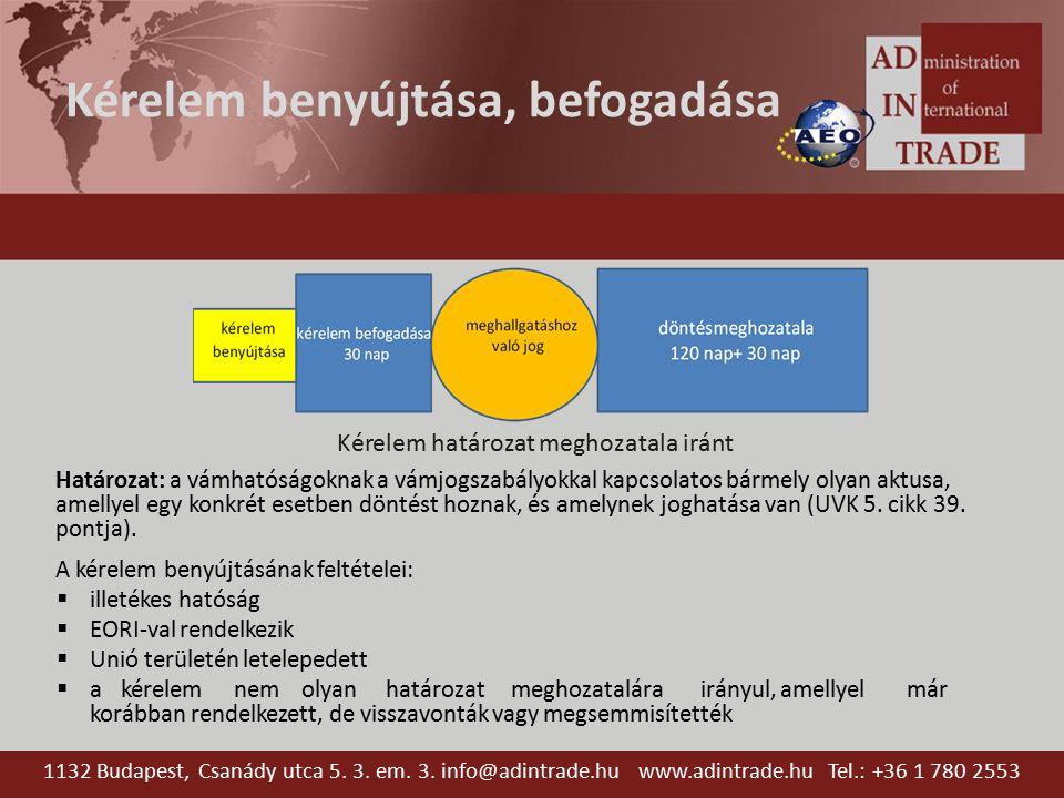 Biztosíték, összkezesség Kötelező: Szabadforgalomba bocsátás, Különleges eljárások Átmeneti megőrzés Biztosítéknyújtásra vonatkozó nemzeti kedvezmény, illetve mentesség Áfa biztosítás alóli mentesség továbbra is megmarad Átmeneti megőrzési raktárakra megmarad a mentesség, újra kell értékelni az engedélyt Összkezesség Új vámbiztosíték típus több vámeljárásra, akár több tagállamban Csökkentett összegű összkezesség és biztosítéknyújtás alóli mentesség 1132 Budapest, Csanády utca 5.