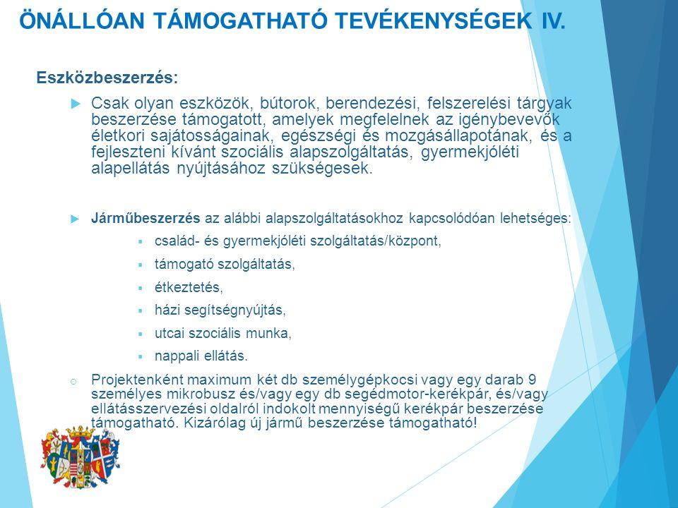 ÖNÁLLÓAN TÁMOGATHATÓ TEVÉKENYSÉGEK IV.