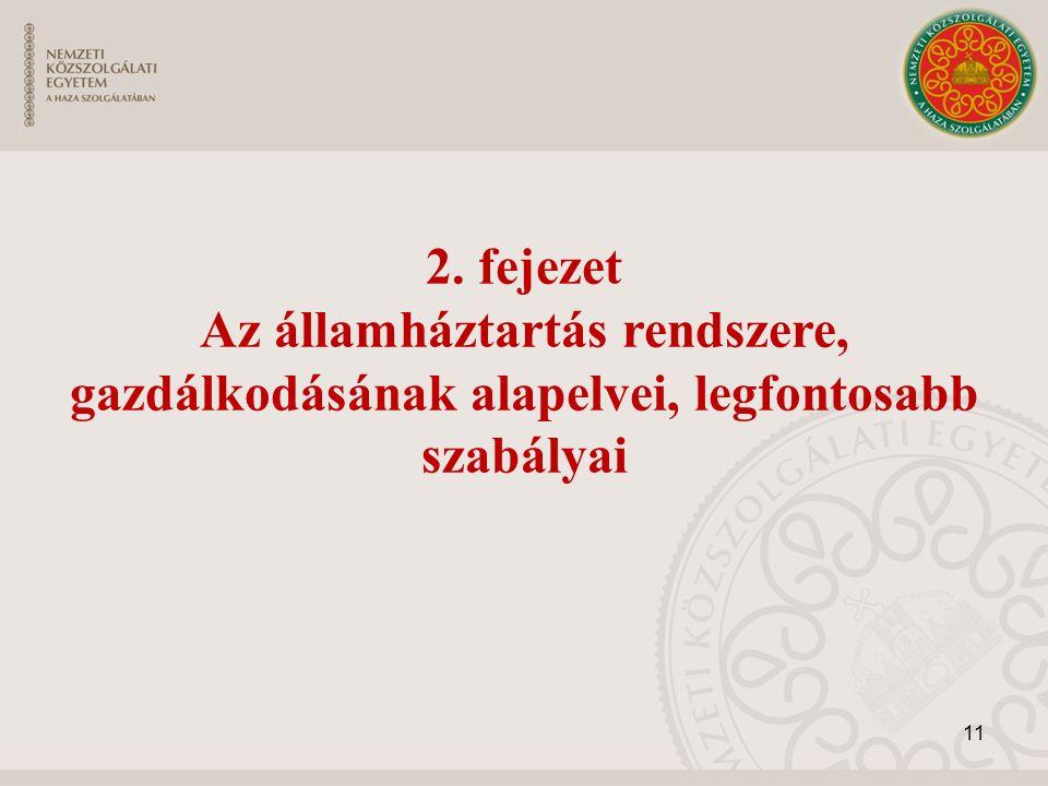 2. fejezet Az államháztartás rendszere, gazdálkodásának alapelvei, legfontosabb szabályai 11