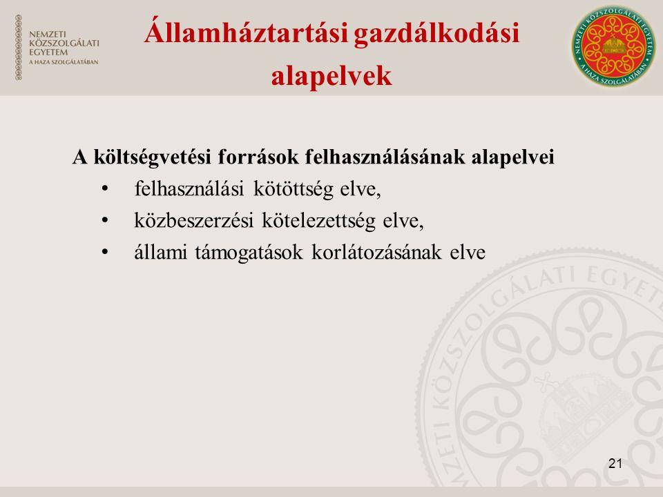 A költségvetési források felhasználásának alapelvei felhasználási kötöttség elve, közbeszerzési kötelezettség elve, állami támogatások korlátozásának elve Államháztartási gazdálkodási alapelvek 21
