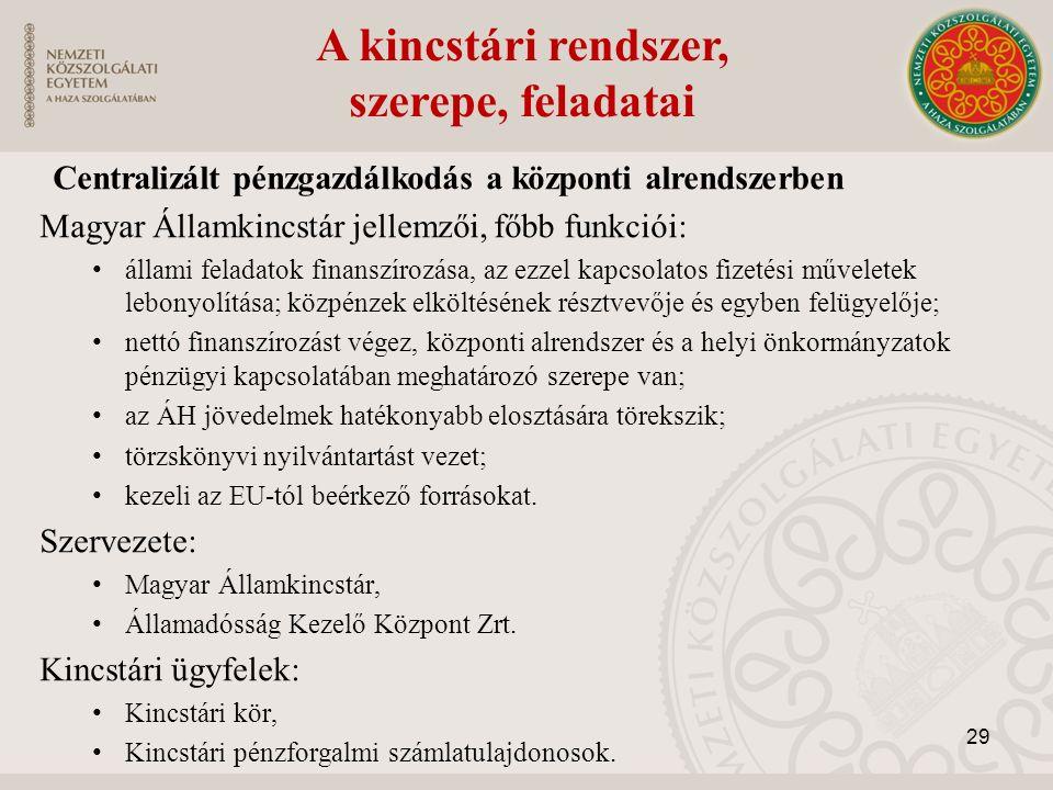 A kincstári rendszer, szerepe, feladatai Centralizált pénzgazdálkodás a központi alrendszerben Magyar Államkincstár jellemzői, főbb funkciói: állami f