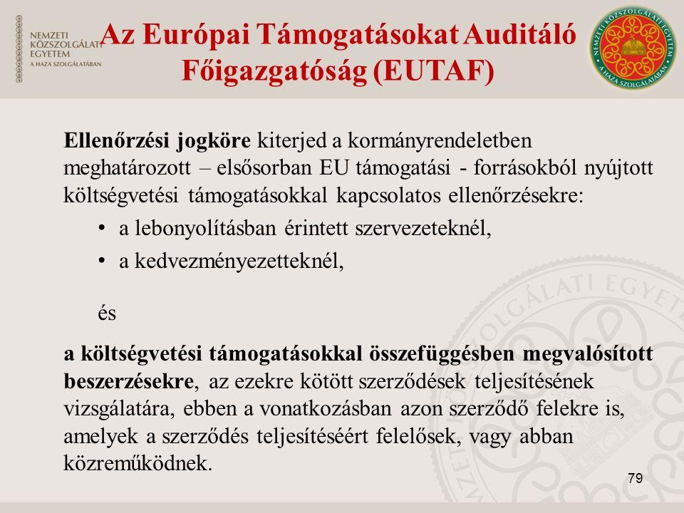 Az Európai Támogatásokat Auditáló Főigazgatóság (EUTAF) Ellenőrzési jogköre kiterjed a kormányrendeletben meghatározott – elsősorban EU támogatási - forrásokból nyújtott költségvetési támogatásokkal kapcsolatos ellenőrzésekre: a lebonyolításban érintett szervezeteknél, a kedvezményezetteknél, és a költségvetési támogatásokkal összefüggésben megvalósított beszerzésekre, az ezekre kötött szerződések teljesítésének vizsgálatára, ebben a vonatkozásban azon szerződő felekre is, amelyek a szerződés teljesítéséért felelősek, vagy abban közreműködnek.